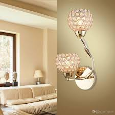 Wall Light For Living Room 2 Heads Crystal Bedroom Wall Lamp Fashion Simple Bedsides Wall