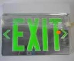 Lithonia Lrp Exit Lights Exit Sign 2 Sided Ceiling Mounted Green Letters On Mirror