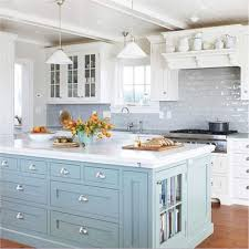 Coastal kitchen with painted island