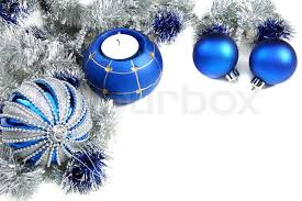 blue and white christmas background.  Blue Christmas Still Life With Blue Balls And Tinsel On A White Background   Stock Photo Colourbox For Blue And White Background