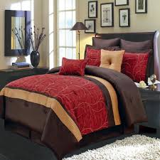 modern red brown embroidered comforter set  luxury linens  less