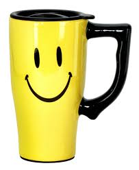 Smiley Face Coffee Mug Amazoncom Spoontiques Smiley Face Travel Mug Yellow Kitchen