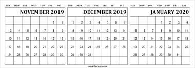 November 2019 To January 2020 Calendar Printable Images For
