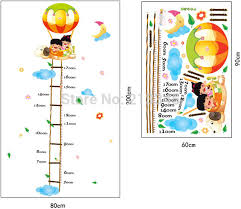 Ladder Height Chart Us 6 71 15 Off Fundecor Hot Air Balloon Cartoon Childrens Room Height Ladder Growth Chart Wall Stickers Decals Decor Removable 6766 In Wall