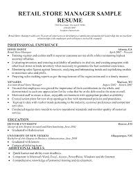 Retail Manager Sample Resume Sample Resumes For Retail Retail Store ...