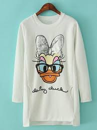 White+Long+Sleeve+Duck+<b>Print</b>+Sequined+Sweatshirt+30.49 in ...
