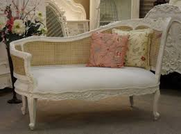 Shabby Chic White Carved Wood Bedroom Chaise Lounge Chair With Floral  Pillows