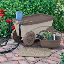 garden scooter seat. Image Is Loading Cart-Garden-Scooter-Tool-Storage-Seat-Kneeling-Cushion- Garden Scooter Seat