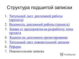 Презентация на тему Дипломное проектирование Методические  4 Структура подшитой записки 1 Титульный лист дипломной работы