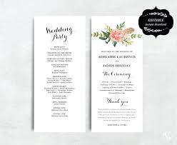 Printable Wedding Program Templates Printable Wedding Program Template Floral Programs Editable Text