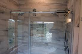 barn door frameless shower