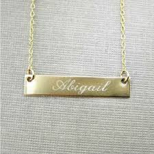 personalized gold bar necklace gold filled engraved rectangle name plate name bar