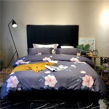 flower printed egyptian cotton bedlinen queen double king size bedding kit bedsheet pillowcase doona duvet cover set affordable comforter sets black