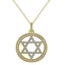 diamond jewish star david pendant necklace 14k yellow gold 0 92ct ad7084