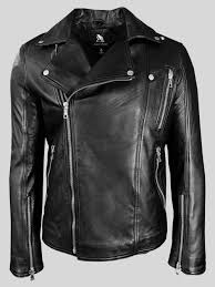 men s black leather motorcycle biker jacket