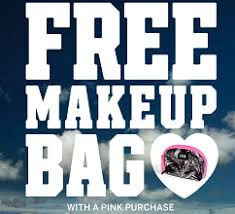 free makeup bag with pink purchase