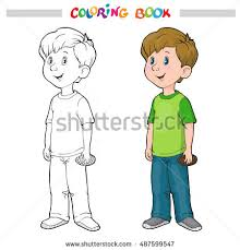 Small Picture Coloring Book Page Boy Girl Vector Stock Vector 487599541