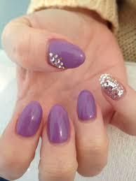 Pink Purple And Silver Nail Designs Gels Purple Lavender Silver Glitter Diamonds Oval Shape