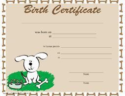 Birthday Certificate Templates Free Printable Magnificent A Dog Birth Certificate Bordered In Bones And Featuring A Happy