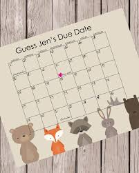 Printable Guess Babys Due Date Baby Shower Game Woodland Animals