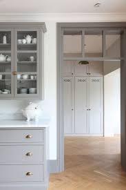 White Cabinets Grey Walls Gray Kitchen Cabinets Brass Hardware Herringbone Floor
