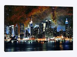 new york city canvas. Exellent Canvas New York City Nebula Skyline By 5by5collective 1piece Canvas Art   In City W