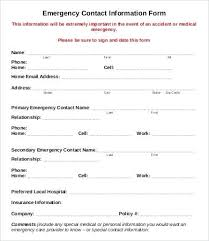 Parent Contact Form Template General Employee Information Simple