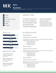 Resume Word Template Modern Modern Initials Resume