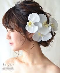 ヘッドドレス 花 ウェディング 胡蝶蘭 5輪 ウエディング 髪飾り 造花 成人式 結婚式 和装 ブライダル