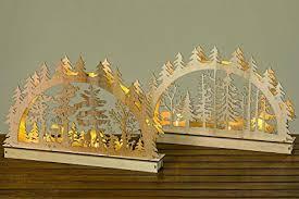 43cm Lichterbogen Holz Tannenwald 6965 Natur Braun Grau Schwibbogen Leds Dekoobjekt Tischdeko Fensterdeko Weihnachten Led Objekt Weihnachtsdeko