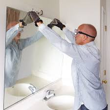 architecture popular how to hang a frameless mirror on wall large best home idea remove bathroom