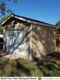 backyard storage shed plans with a garage door