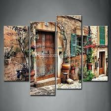mediterranean wall art 4 panel streets of old towns flower door windows painting the picture print on canvas architecture pictures for home from freedom on freedom mediterranean wall art with mediterranean wall art 4 panel streets of old towns flower door