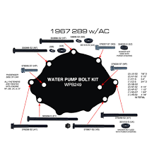 amk products f249 mustang water pump bolt 289 w a c 1967 amk products water pump bolt set air conditioning 289 1967
