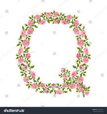 vector realistic hand drawn capital Q letter made from rose flowers with  leaves. Isolated illustration