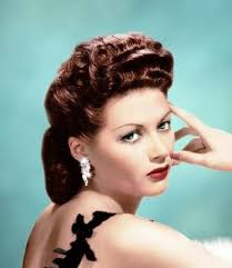 yvonne de carlo evening hairstyle that looked similar to daytime looks