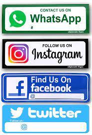 eSplanade Facebook, Twitter Instagram Whatsapp Sign Sticker Decal Combo -  (9