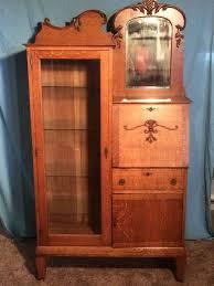 antique oak glass side by side secretary desk bookcase beveled mirror old