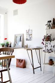 white airy home office. i love the bright white light and airy feel of this workspace office makeover with farrow ball floor paint home