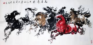 original chinese eight galloping horses painting wall art