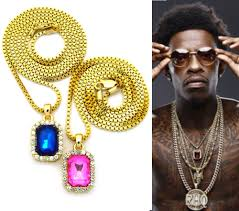 mens iced out hip hop gold ruby blue pink stone pendant box chain necklace set