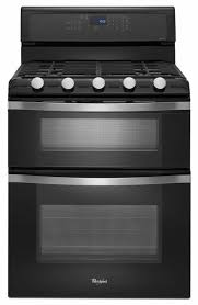 whirlpool self cleaning black double oven gas range wgg755s0be double oven gas range e87 gas