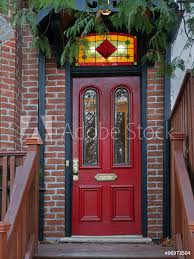 photo art print old red door of victorian house with stained glass transom europosters