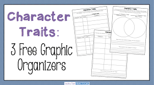 3 free character trait graphic organizers use to help students pare and contrast characters