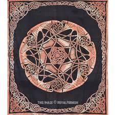 black celtic star knot mandala tapestry wall hanging