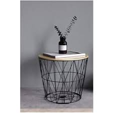 wooden top metal wire side table
