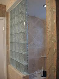 Inline Glass Block Shower