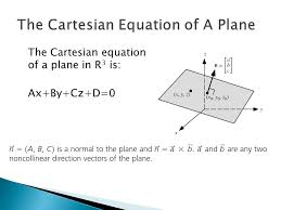 8 the cartesian equation of a plane in r 3 is ax by cz d 0