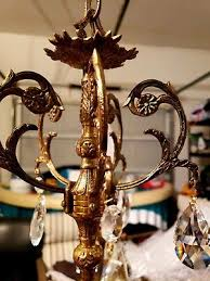 vintage spanish brass crystal chandelier 5 light 140 00