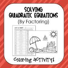 activity solving quadratic equations